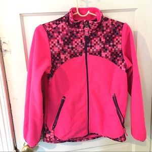 Champion pixel pink zipper fleece girls M 10-12
